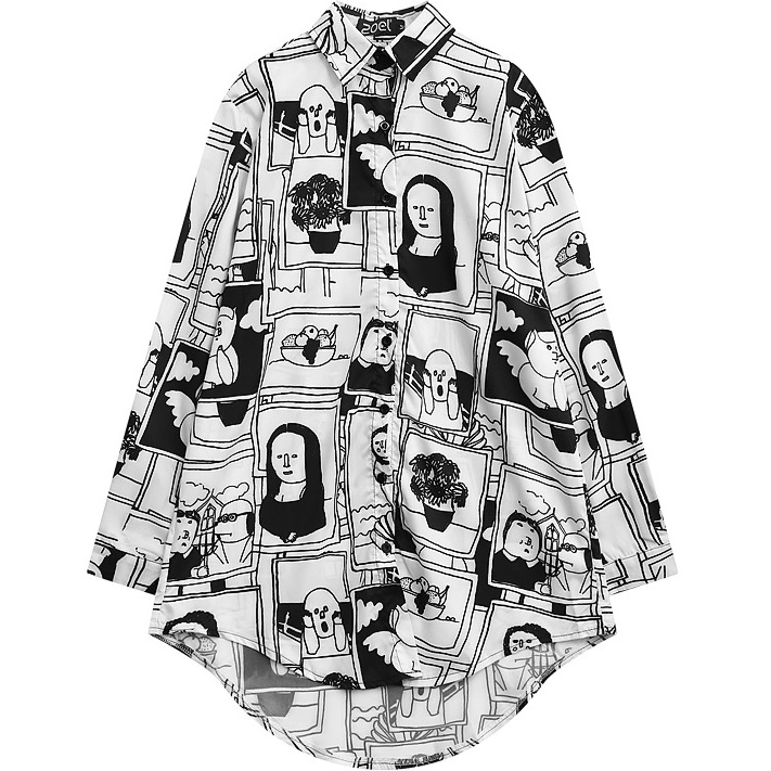 Women Blouse 2017 Lazy Oaf Style Pattern Print Plus Size Shirt for Female Fashion Cute Chiffon
