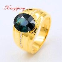 Xin yi peng 18 k желтое золото инкрустированное 4,2 карат кольцо из натурального сапфира, мужское большое кольцо, бриллиант