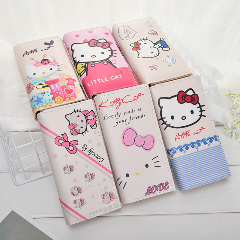 1pc Cute Kitty  Ladies Long Wallets for Women High Quality Leather Clutch Hasp Purses Female Zip Pocket Card Holder Dollar Price