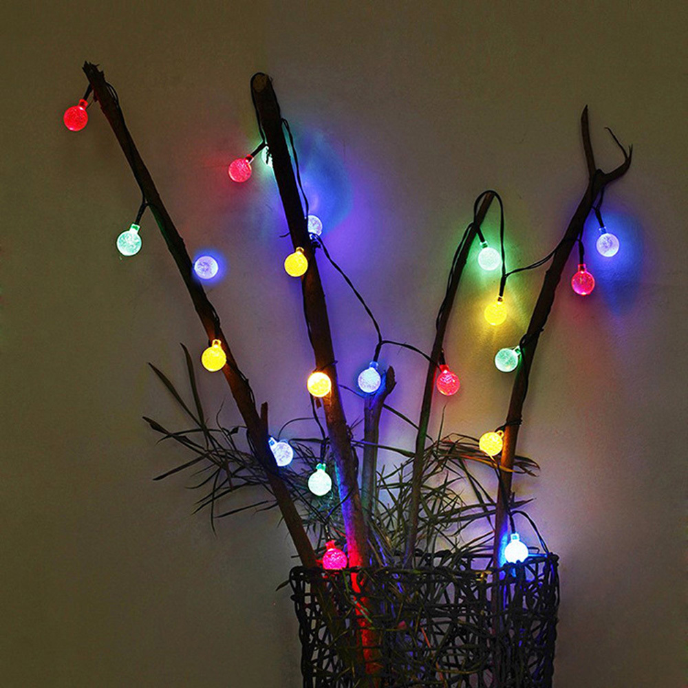 tanbaby 6m 30led crystal ball string light solar decoration lights waterproof outdoor garden tree fairy lighting white rgb in solar lamps from lights - Decoration Lights
