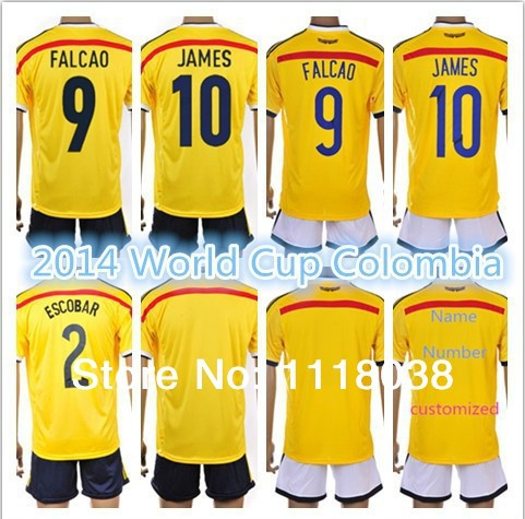 2013-14 Season National team 2014 Brazil World Cup soccer jersey Colombia  football uniform shorts kits 100% cotton AAA quality ! 915052ccc