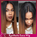 Half Hand 100% Lace Front Wig Silky Straight Synthetic Lace Front Wig Sexy Ombre Brown Hair #1B/#4 Two Tone Wig For Black Women