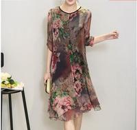 New Fashion Women Summer Plus Size Clothing Silk Vintage Bohemia Expansion Bottom Dress Print Beach Party