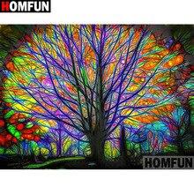 HOMFUN Diamond Painting Cross Stitch Tree scenery Full Crystal Embroidery Needlework Craft Home Decor A13268