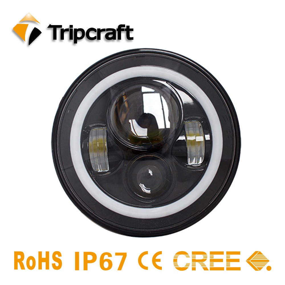 TRIPCRAFT Led Headlight 7 Round High Low beam 6000K 7Inch Led Motor Light 40W for Jeep Harley Lada Niva Toyota UAZ 4x4 Offroad