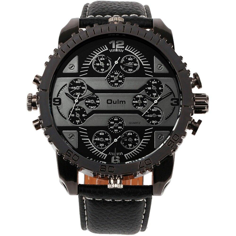Prix pour OULM Hommes de Montres Aviateur Militaire DZ Quartz-montre-Bracelet Bracelet En Cuir 4 Fuseau horaire Oversize en forme D'engrenage lunette + Cadeau Boîte