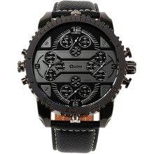 OULM Hommes de Montres Aviateur Militaire DZ Quartz-montre-Bracelet Bracelet En Cuir 4 Fuseau horaire Oversize en forme D'engrenage lunette + Cadeau Boîte