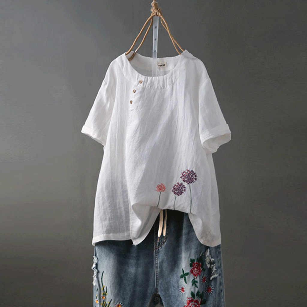 2019 לבן חולצה נשים Boho בגדי כותנה ופשתן בתוספת גודל רקמת O-צוואר כפתור מזדמן חולצה צמרות חולצה femme בלאנש