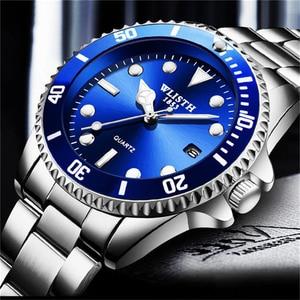 Image 1 - WLITH2019relogio masculino luksusowy srebrny męski zegarek kwarcowy ze stali nierdzewnej sport wodoodporny wypoczynek biznesowy męski zegarek