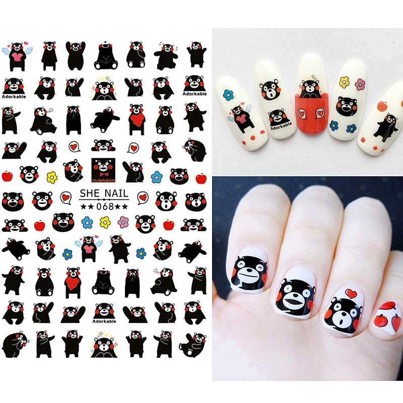 2 sheets self adhesive cartton 3d nail art decorations stickers and ...