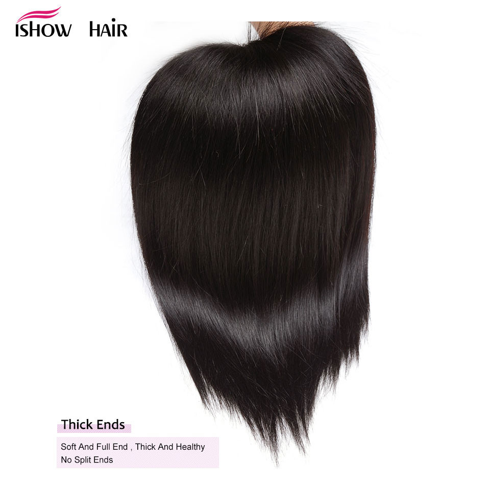 _09  Ishow Hair Ear To Ear Lace Frontal Closure With Bundles Brazilian Straight Human Hair three Bundles With Closure Non Remy four Pcs/lot HTB1
