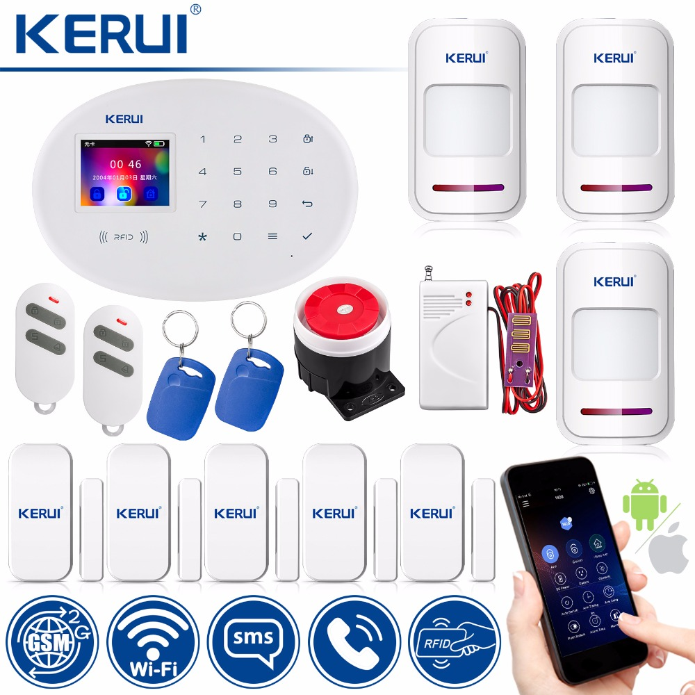 KERUI WIFI GSM Home W20 Smart Socket Security Alarm System RFID Card APP Control Burglar Wireless Alarm 2.4 inch TFT Touch Panel