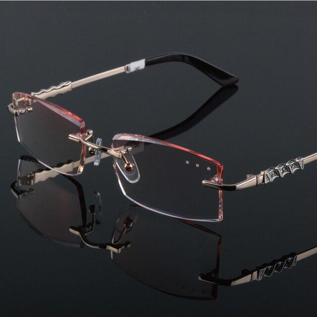 De gama alta Eyewear metal diamante recorte gafas sin montura gafas ...