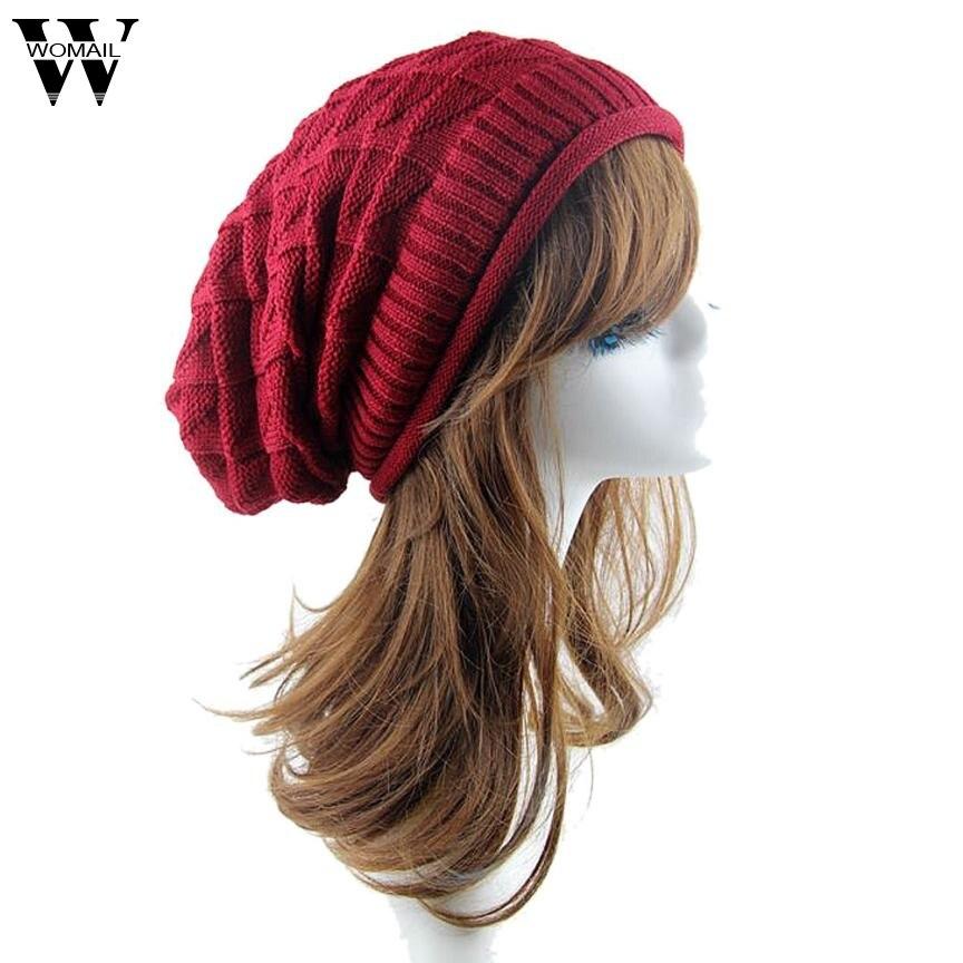 Dec 2 Amazing 2016 New Fashion Women Knit Baggy Beanie Hat Winter Casual Warm  Cap High Quality hot winter beanie knit crochet ski hat plicate baggy oversized slouch unisex cap