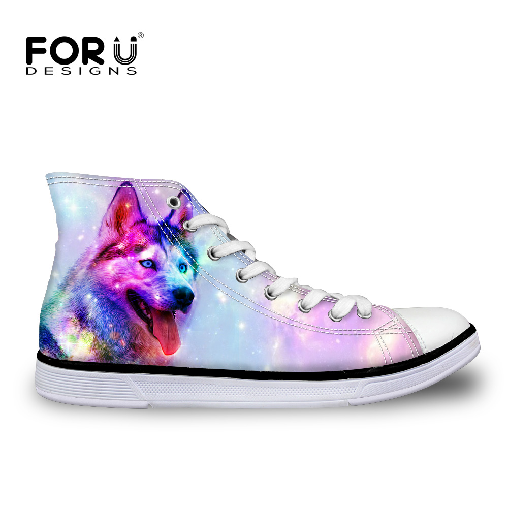 FORUDESIGNS Galaxy Women Fashion Autumn Casual Shoes Cute Animal Dog Husky Printed Women