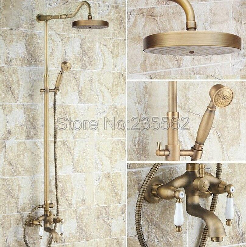 Retro Wall Mounted Antique Brass Rainfall Bathroom Rain Shower Faucet Set Dual Handle Tub Mixer Tap + Hand Shower Spray lrs247