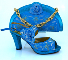 Lowest Price Italian Shoes And Bag Set Fashion Style High Heels Maching Bag For Wedding,MM1008 Sky Blue color size 38-42.