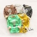 2016 Meninas novas de Inverno Crianças cotton tops tees camisetas de manga longa de Veludo Grosso confortável bonito Roupa do bebê Roupa Das Crianças