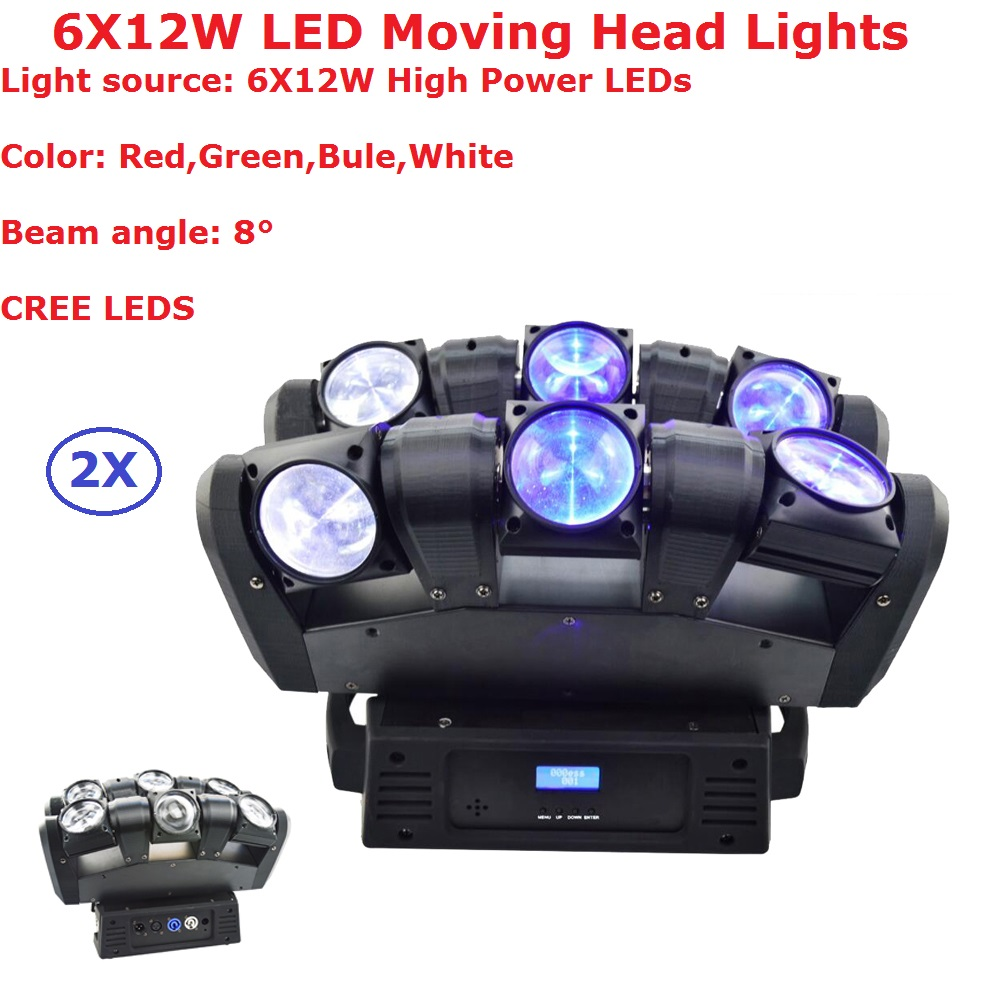 2 Pack Newest CREE LEDs Moving Head Light 6X12W RGBW Quad Color LED Moving Head Beam Lights 8 Degree Beam Angle LCD Display