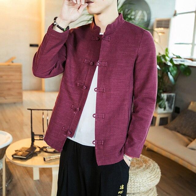 6b75465c712 Chaqueta estilo chino 2019 primavera nueva espiga chaqueta Vintage moda de  alta calidad Casual Lino sólido