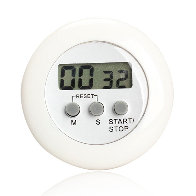 LCD Digital Kitchen Countdown Timer Alarm with Stand White Round ...