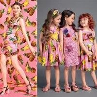 الأزياء أحدث الوردي الكبير الأناناس مطبوعة ذات الكثافة الاطفال القطن لفستان tissus au متر telas tissu ديي أفخم