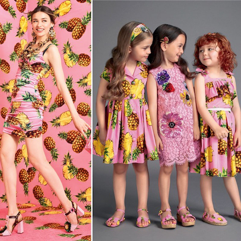 Fashion The Latest Pink Big Pineapple Printed High-density Kids Cotton Fabric For Dress Tissus Au Meter Telas Tissu DIY Plush