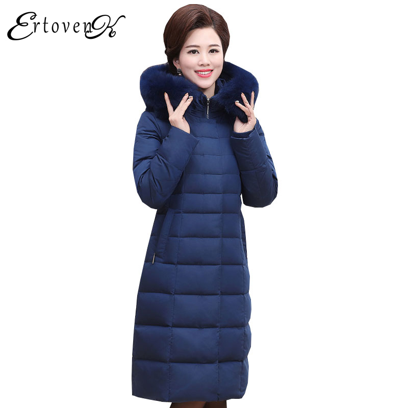 Plus Size Women Coats 2017New Middle-aged Winter Jackets Fur Collar Clothing Thicker Long sleeves Outerwear abrigos mujer LH085 plus size women cotton coats jacket winter 2017 new long sleeve top slim fashion clothing korean outerwear abrigos mujer lh013