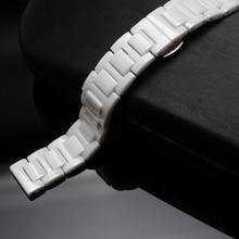 Pura Correa De Cerámica Blanca Reloj de la correa pulseras 14mm 16mm 18mm 20mm accesorios Reloj de alta calidad para diamante relojes de señora