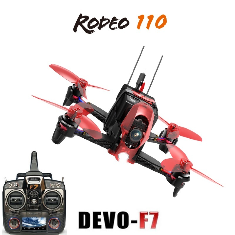 Original Walkera Rodeo 110 With Devo F7 Tranmitter Remote Control Racing Drone FPV Quadcopter RTF (600TVL Camera Included ) original walkera devo f12e fpv 12ch rc transimitter 5 8g 32ch telemetry with lcd screen for walkera tali h500 muticopter drone