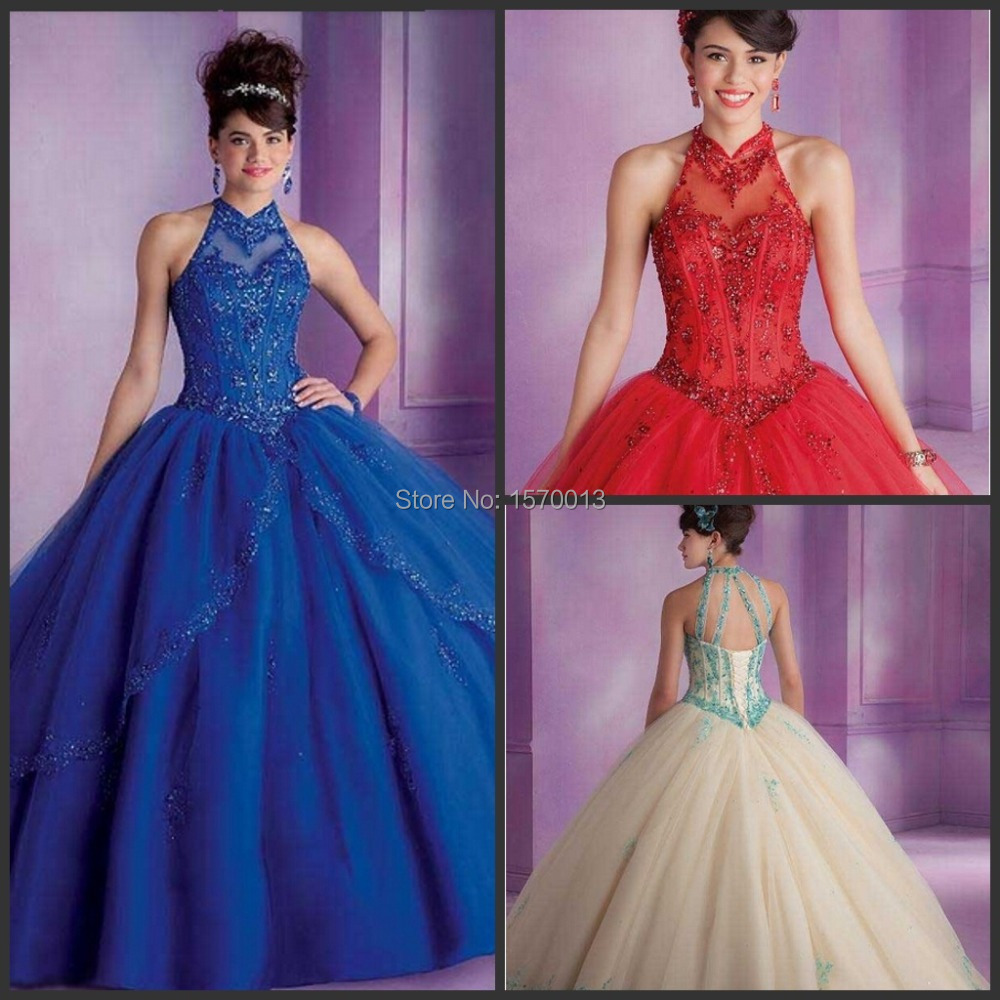 Debut Ball Gowns Quinceanera Dress for 15 Years Tulle Appliques Halter New  Fashion Design 2015 Girls Special Party Clothing a4dba53d05a0
