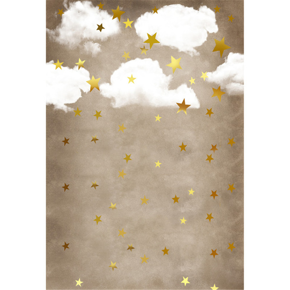 White Cloud Gold Stars Photography Background Baby Newborn Photo Shoot Props Kids Children Photographic Studio Backdrops
