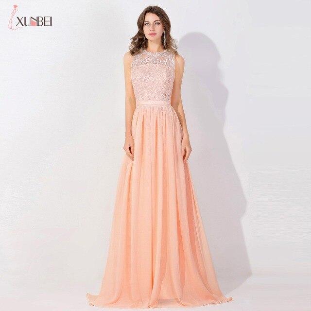 Peach Long Chiffon Prom Dresses 2018 Sheer Mesh Top Lace Applique ...
