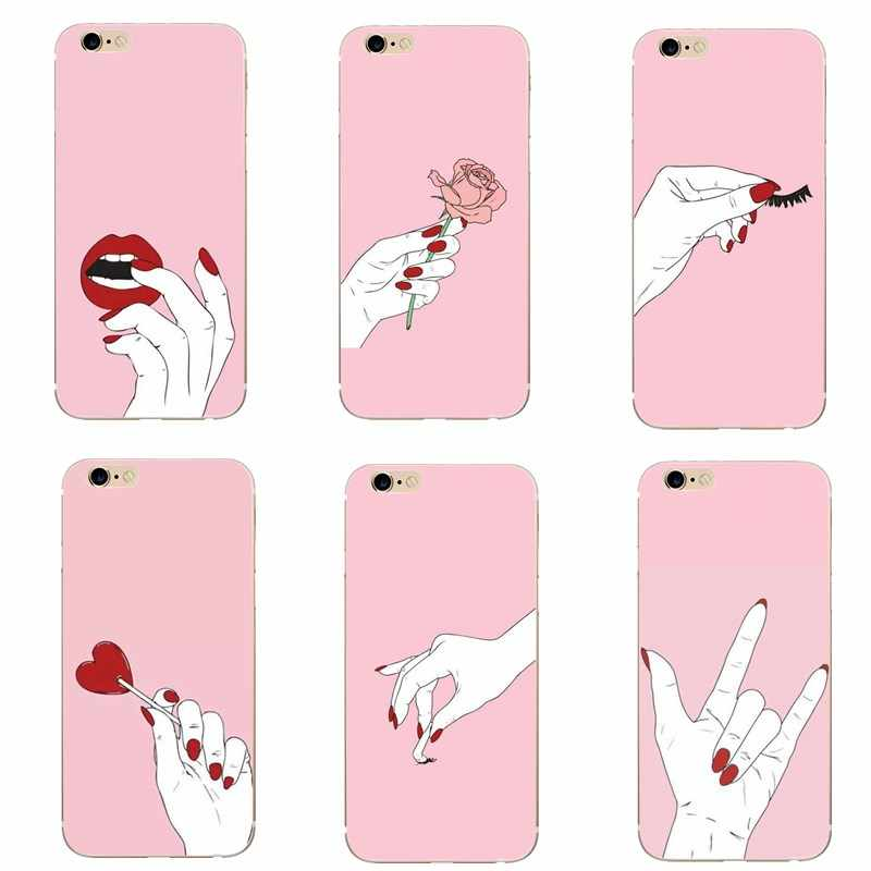 Girly Pink Pattern Phone Case For iphone 7 8 Plus X Women Heart Flowers Case  For b405373c3