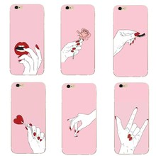 купить Girly Pink Pattern Phone Case For iphone 7 8 Plus X Women Heart Flowers Case For iphone 5 5S SE 6 6S Capa Accessories по цене 65.13 рублей