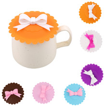 Kawaii Bowknot Anti-Dust Silicone Lids For Tea Cup Cover Coffee Caneca Xicara Tea Cup Vasos De Plastico Suction Seal Cap Gifts