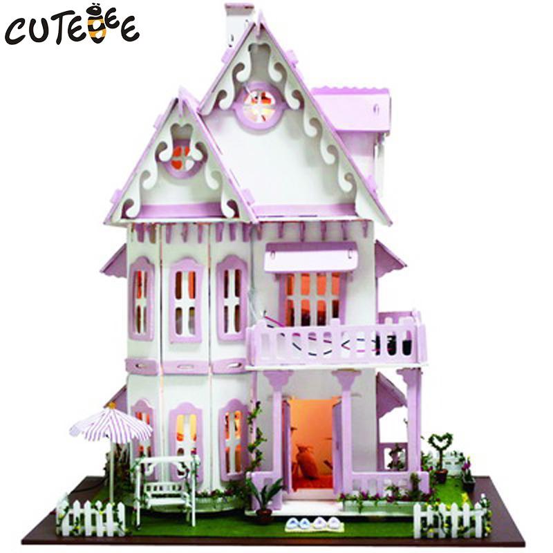 Hot Sale DIY Doll House Trä Miniatura Dollhouse Miniatyr Doll House - Dockor och tillbehör - Foto 2
