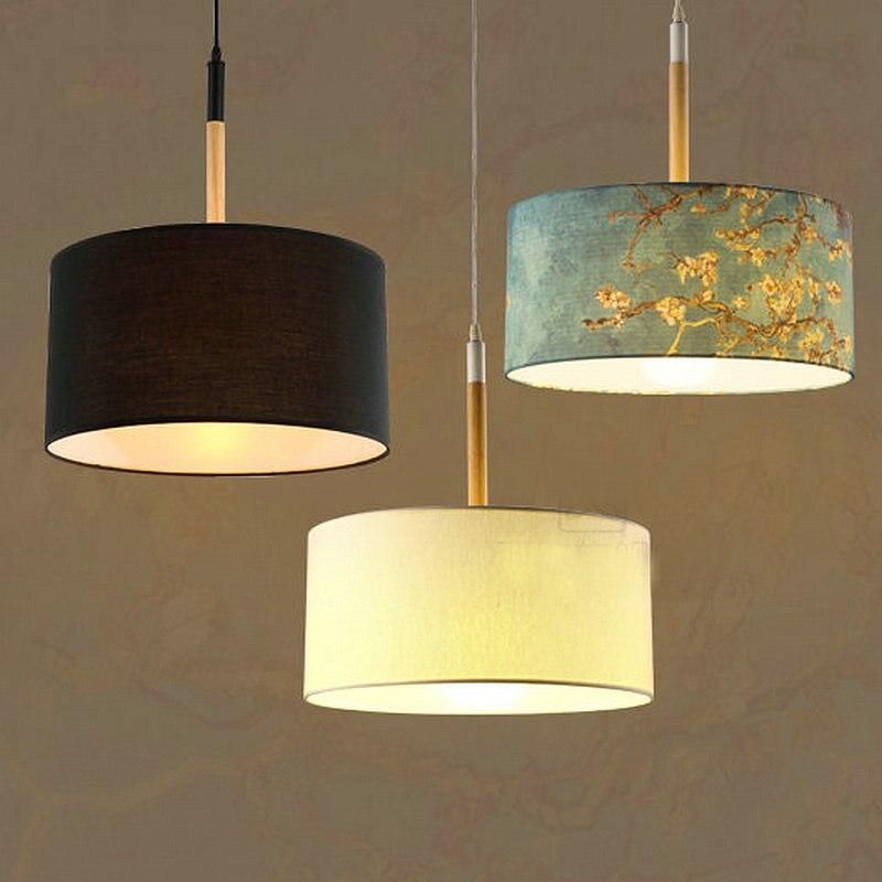 Nordic Stoffschirm Elegante Pendelleuchte Mit Led Birne Hause Dekoration Leuchte Esszimmer Licht Schlafzimmer LampeChina