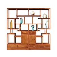 China Antique Decorative Shelf Solid Wooden Furniture Chinese Hedgehog Rosewood Furnishings With 6 Wood Drawers Bookshelf