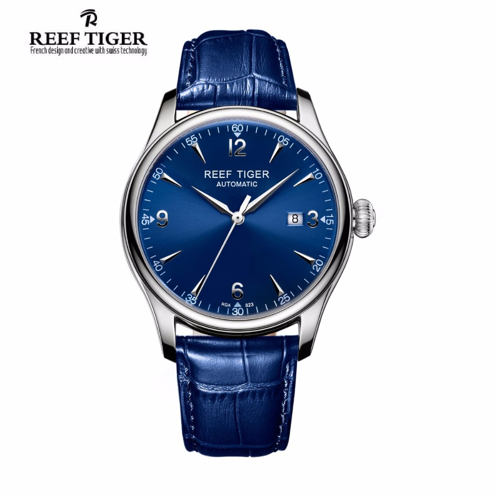 Reef Tiger/RT Blue Watches For Men Dress Mechanical Stainless Steel Leather Strap Automatic Watches with Date RGA823 yn e3 rt ttl radio trigger speedlite transmitter as st e3 rt for canon 600ex rt new arrival