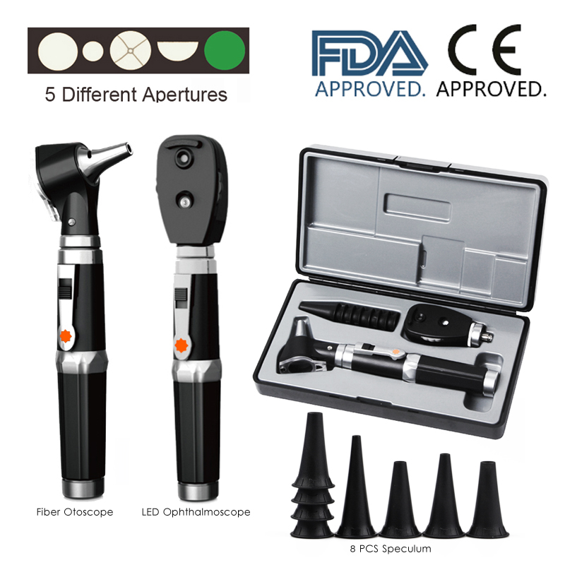 Medical CE ENT Diagnostic Portable Eye Ear Endoscope Opthalmoscope LED Otoscopio Direct Fiber Otoscope Ophthalmoscope Kit