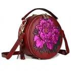 Senhora circular saco genuína flor de couro festa à noite sacos de mão mulher de negócios de moda casual ombro do vintage pequeno saco rodada - 4