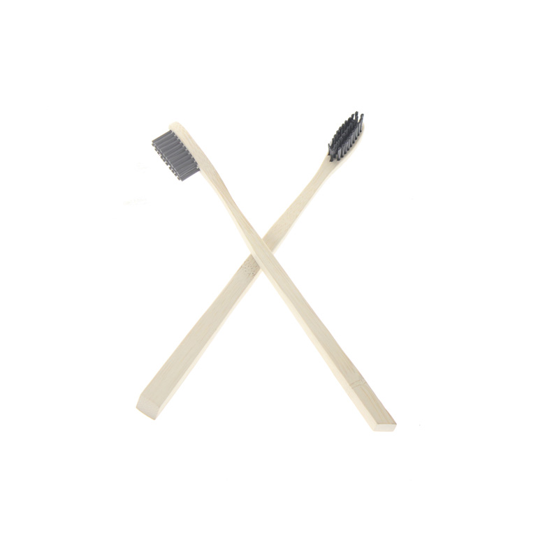 50 pièces/ensemble logo personnalisé Noir Poils L'environnement écologique Voyage Accueil Hôtel Manuel Adulte brosse à dents broosse à dents en bambou