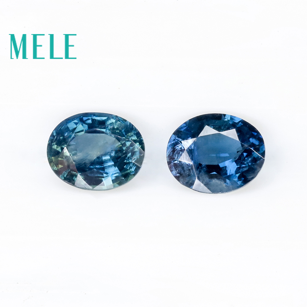 Natural Blue Sapphire loose gemstone for jewelry making, 3*4-3*5mm oval 0.5-1ct 2pcs fine jewelry DIYstones with High quality
