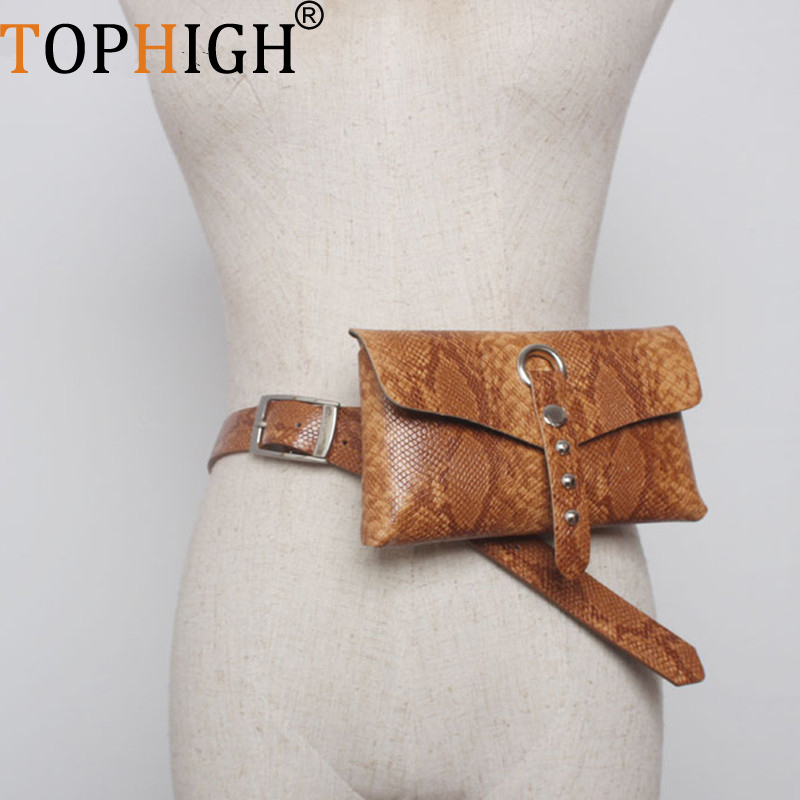 Tophigh Women Waist Blet Bag Vintage Serpentine Leather Waist Bag Female Fanny Pack Fashion Snake Skin Waist Pouch Leg Bags H06 We Take Customers As Our Gods Fine Jewelry