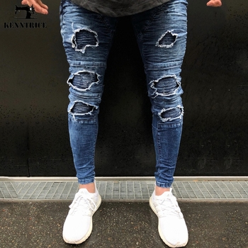 KENNTRICE Ripped Jeans For Men Hiphop Black Blue Mens Jeans Destroyed Denim Trousers Zippers Bottom Fitting Jeans Street Design Джинсы