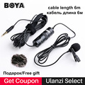Boya BY-M1 Lavalier Microphone 6m Omnidirectional Condenser Recording Video Mic for iPhone X Canon Nikon DSLR Zoom h1 H1N Handy