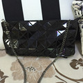 Deformable Women Geometry Quilted Plaid Mosaic Sequins Mirror Shoulder Bag Lattice Laser Rainbow Messenger Clutch Bag