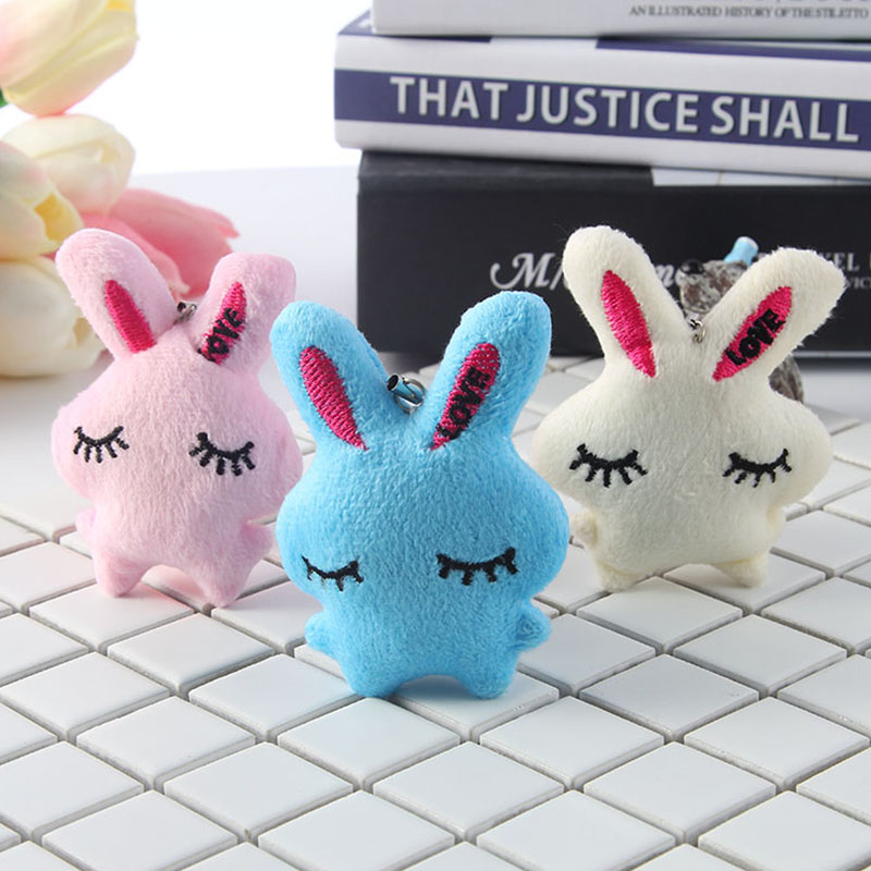 Porte Clef Backpack Car Bag Key Accessary Stuffed Speelgoed Toddler Pram Crib Hanging Bell Plush Rabbit Fur Soft Toy Girls Kids