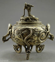 Free Shipping Collectible home Decorated Old Handwork Miao Silver Carved 6 Dragon statue incense burner/metal crafts censer